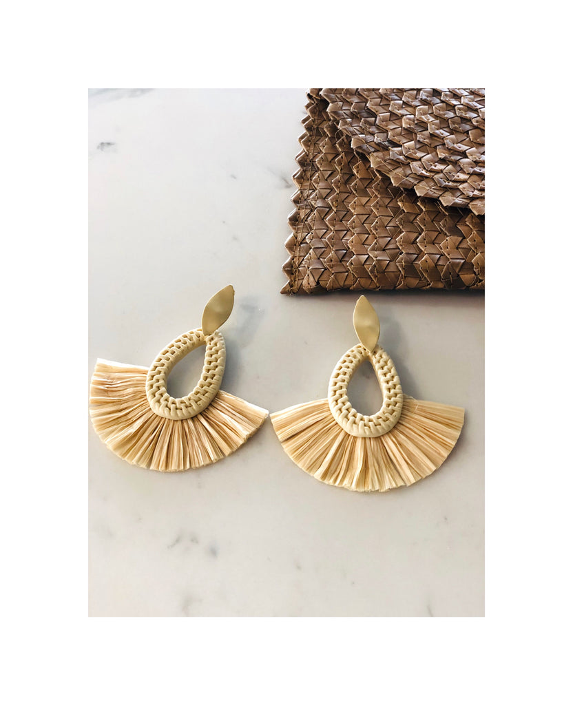 Gold Leaf Raffia Rattan Earrings