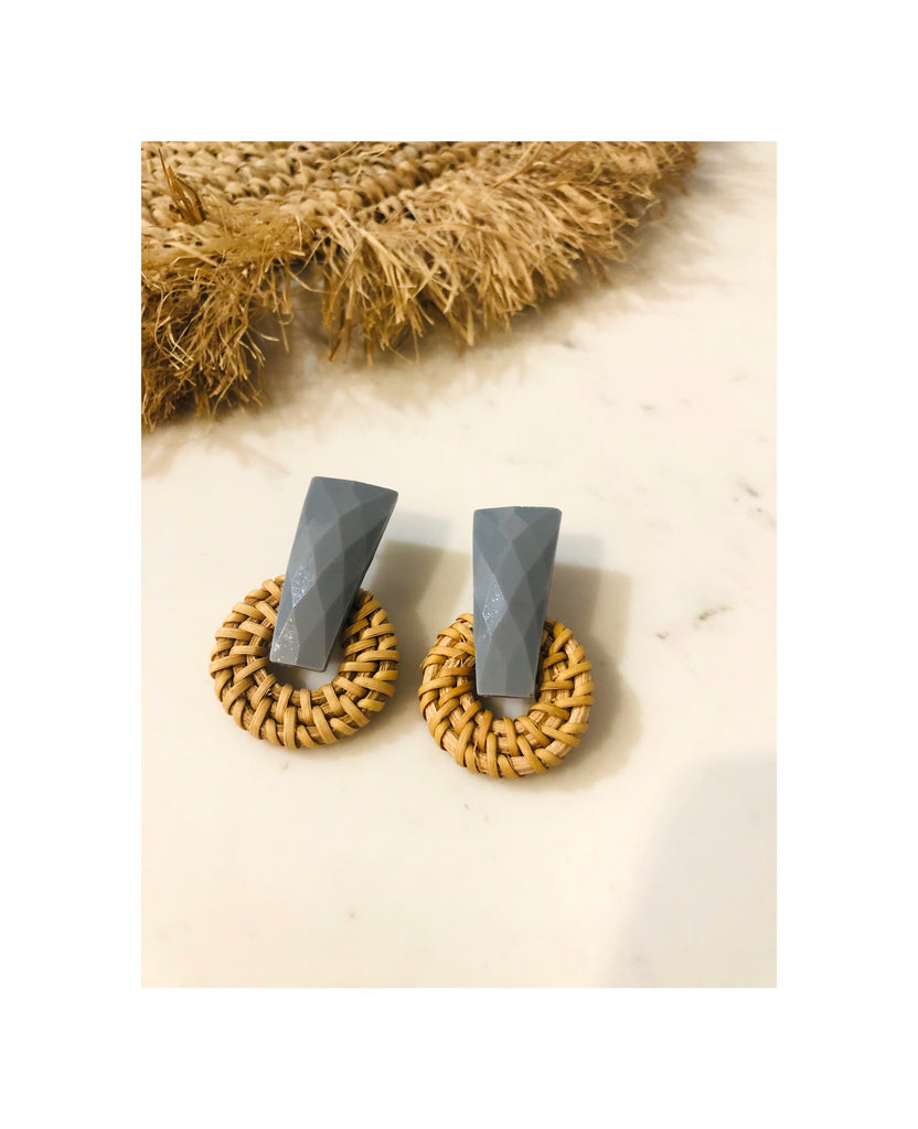 Drop Bar Rattan Earring