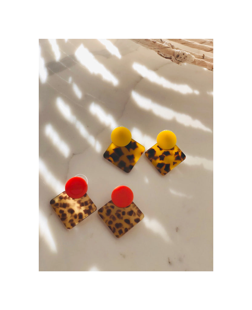 Acrylic Leopard Button Earrings