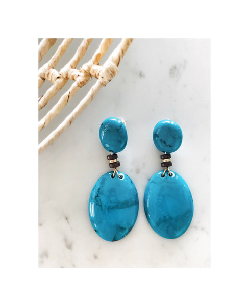 Turquoise Beaded Drop Earrings