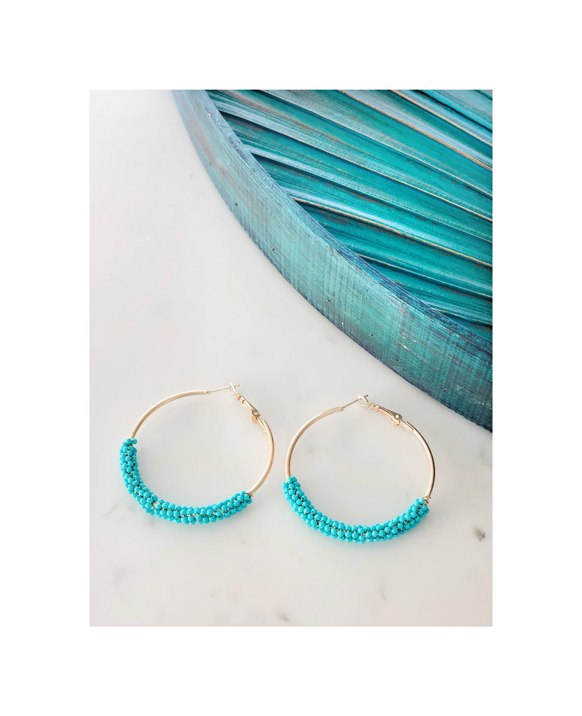 Beaded Turquoise Gold Hoop Earrings