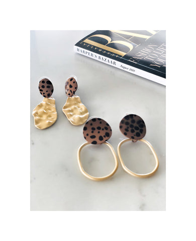 Leopard Brushed Gold Earrings