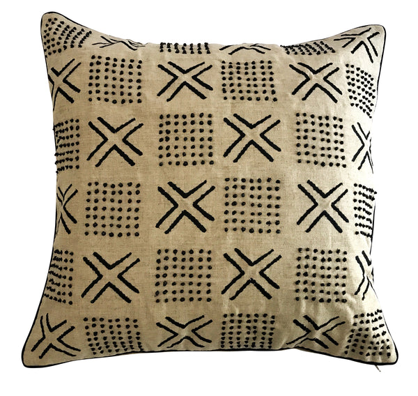 Black Cross Embroidered Beaded Cushion Cover