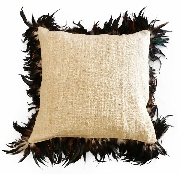 Natural Feather Edged Cushion Cover