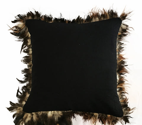 Black Feather Edged Cushion Cover