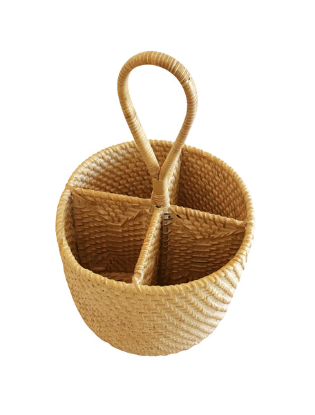 Handwoven Rattan Cutlery Carrier