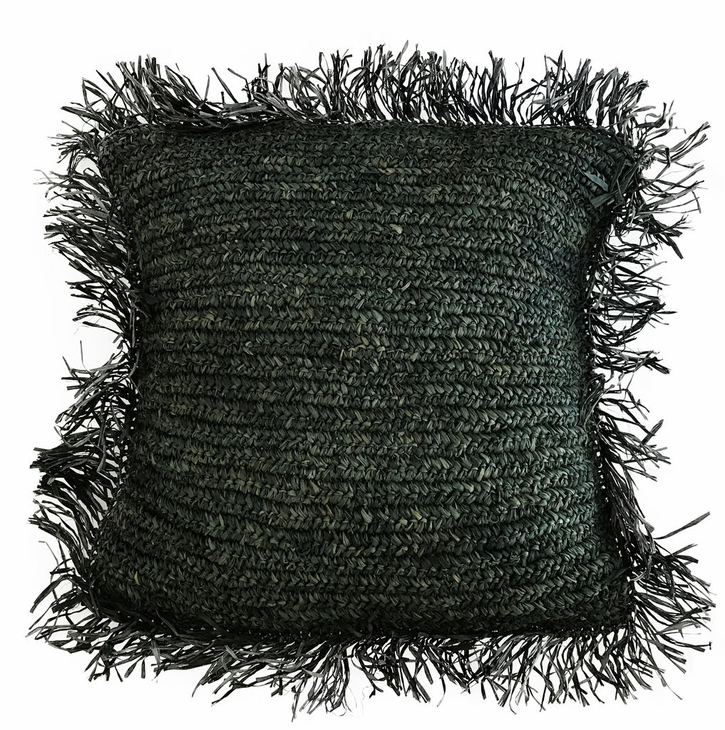 Black Raffia Fringe Cushion Cover
