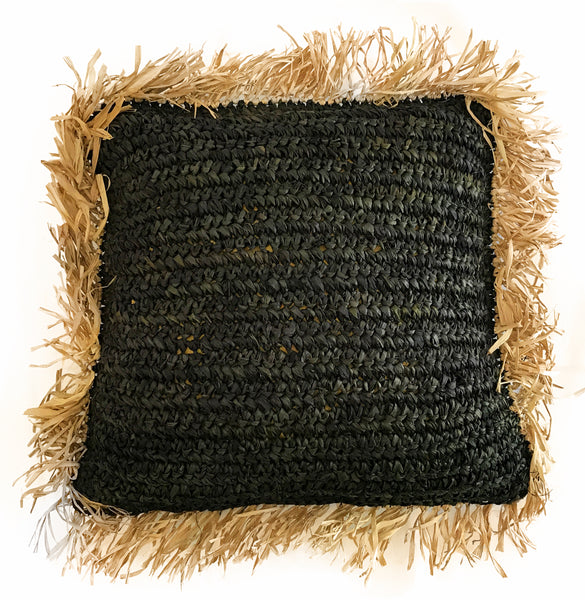 Natural/Black Raffia Fringe Cushion Cover