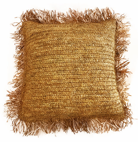 Natural Raffia Fringe Cushion Cover