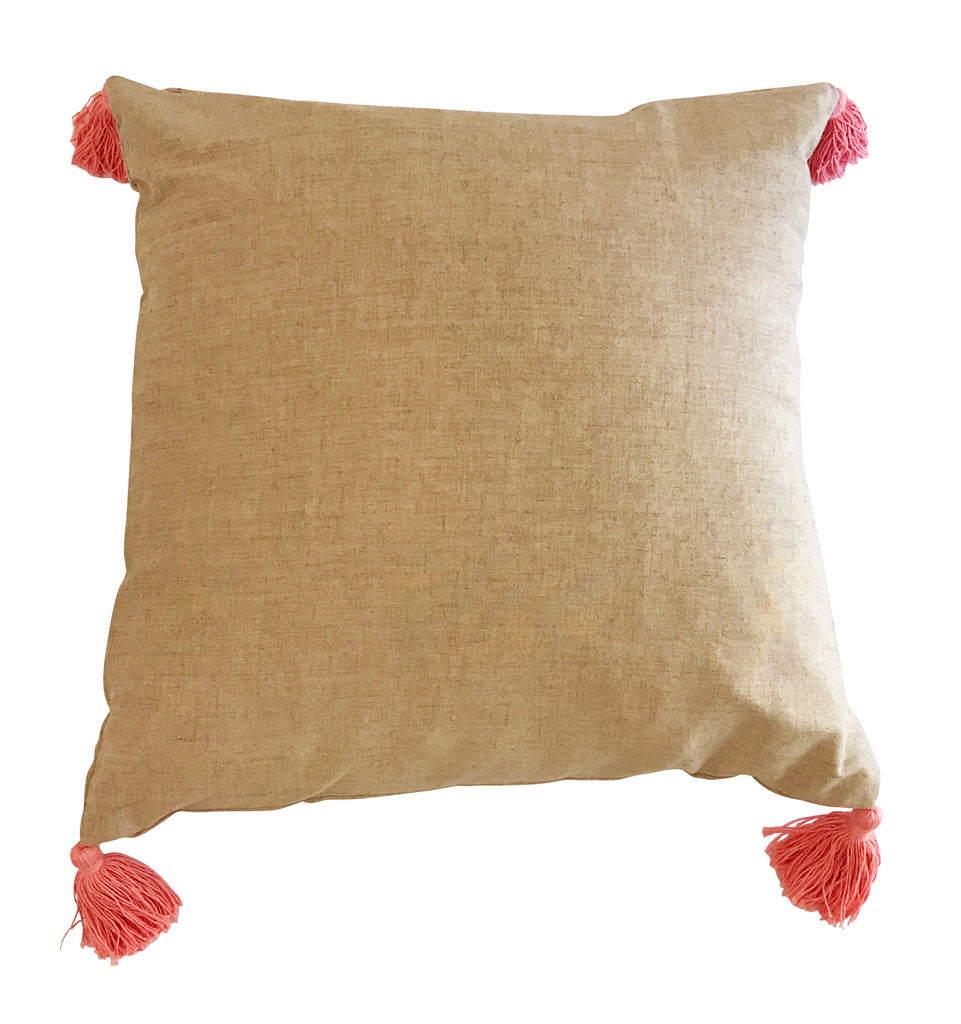 Pink Tassel Linen Cushion