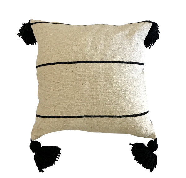 Black Pom Pom Stripe Linen Cushion Cover