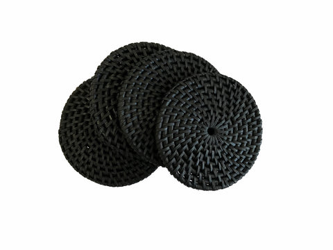 Set of 4 Handwoven Round Rattan Coasters Black
