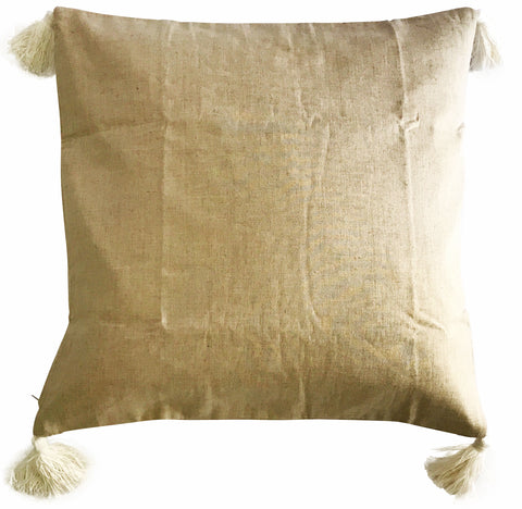 White Tassel Linen Cushion