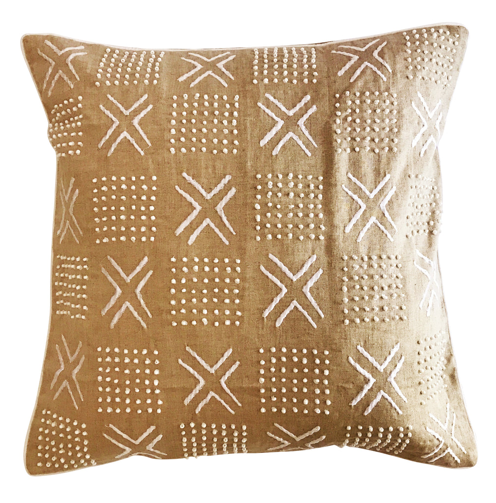 White Cross Embroidered Beaded Cushion Cover