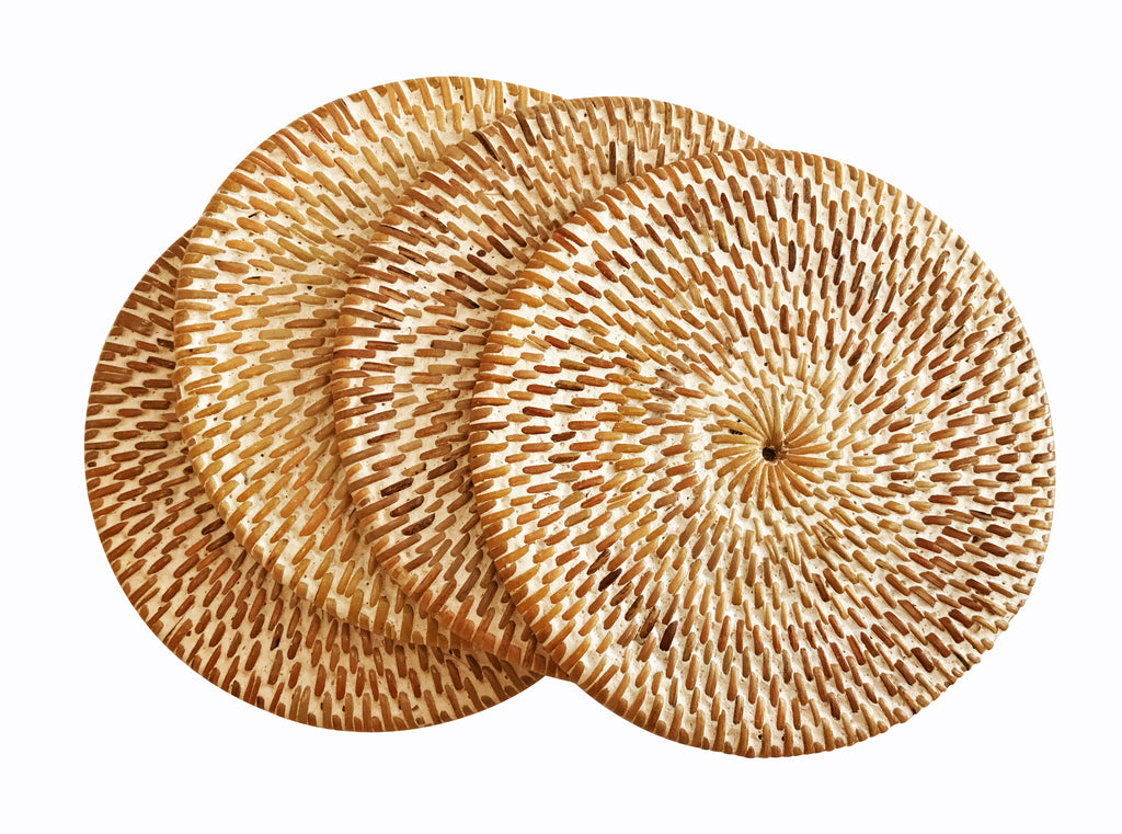 Set of 4 Handwoven Round Rattan Coasters Whitewash