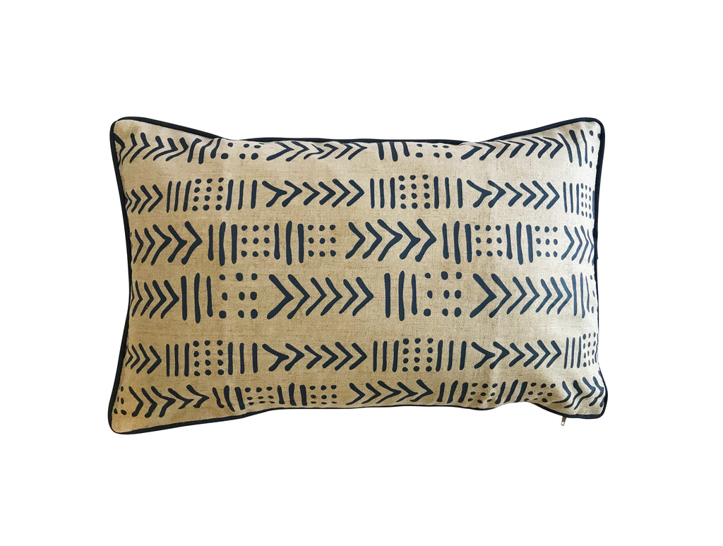 Blue Tribal Linen Lumbar Cushion