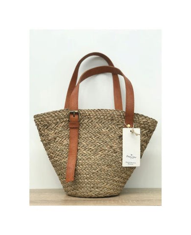 Small Woven Leather Strap Tote Bag