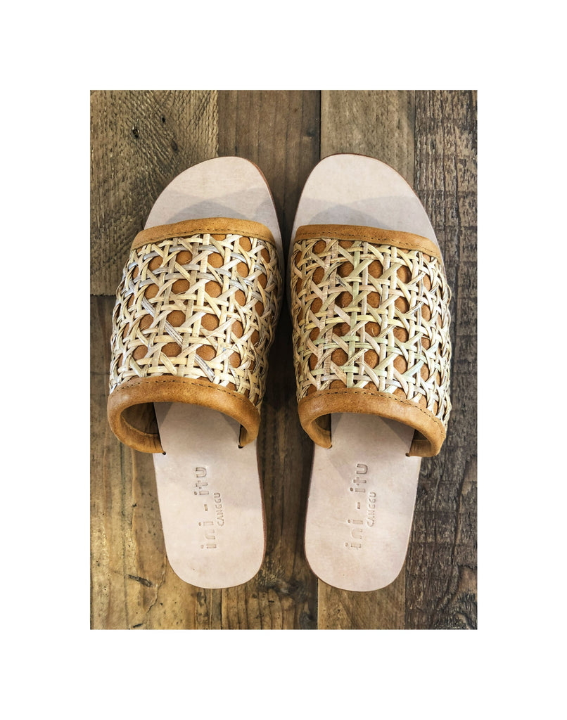 Rattan Leather Slide/Sandal
