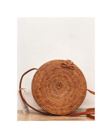 Round Rattan Woven Bag