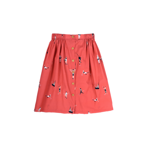 Sea Apple Let's Dance Red Button Down Midi Skirt