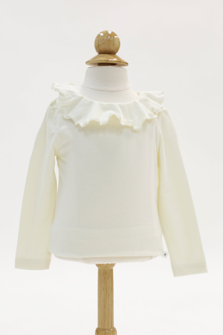 White Long Sleeve With Ruffled Collar