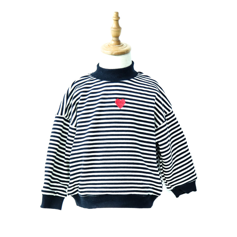 Little Tiny Heart Embroidery Striped Pullover