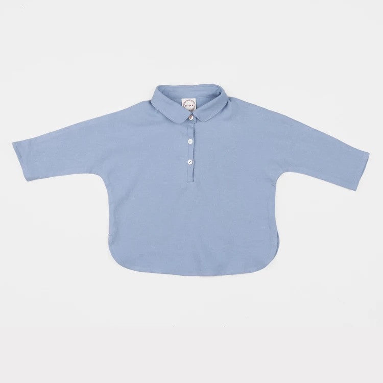 Blue Polo Long Sleeve Tee with Collar