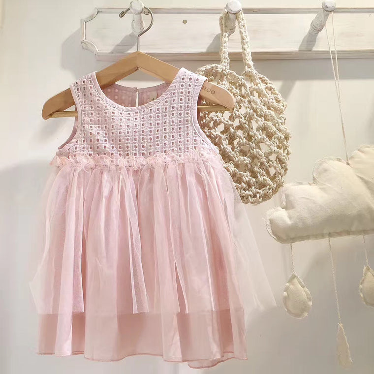 Check Pierced Tulle Dress / Pink