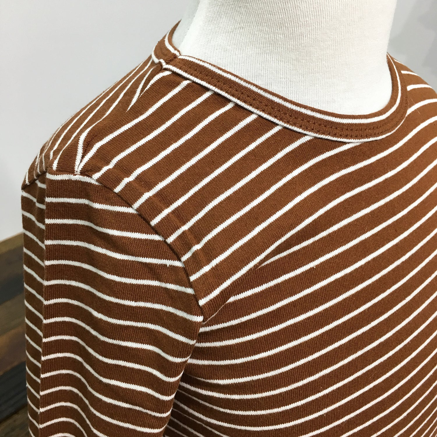 Striped Long Sleeve Shirt / Brick Red