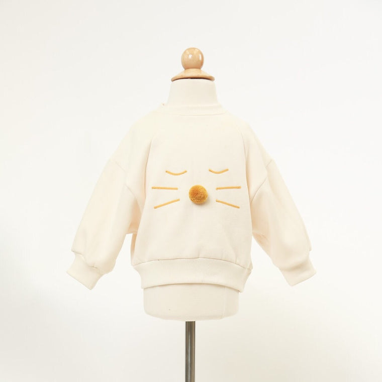 Cat Face White Pullover Sweater