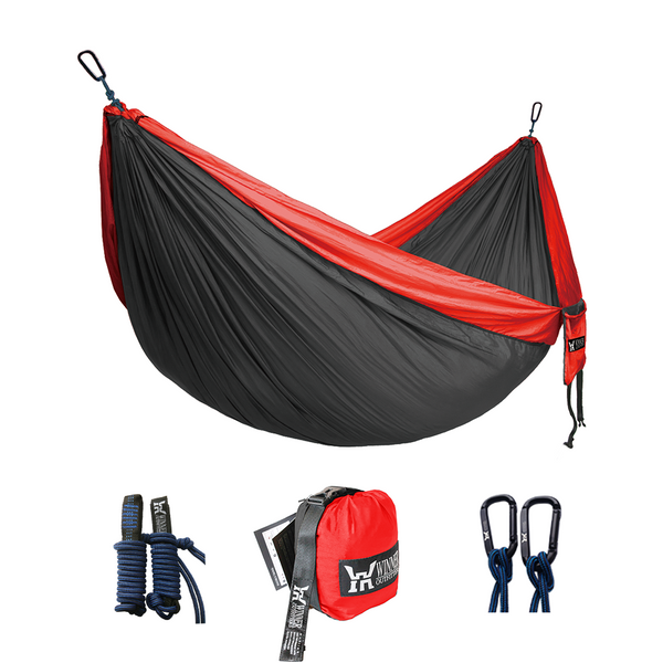 Double Camping Hammock Red Charcoal Winner Outfitters