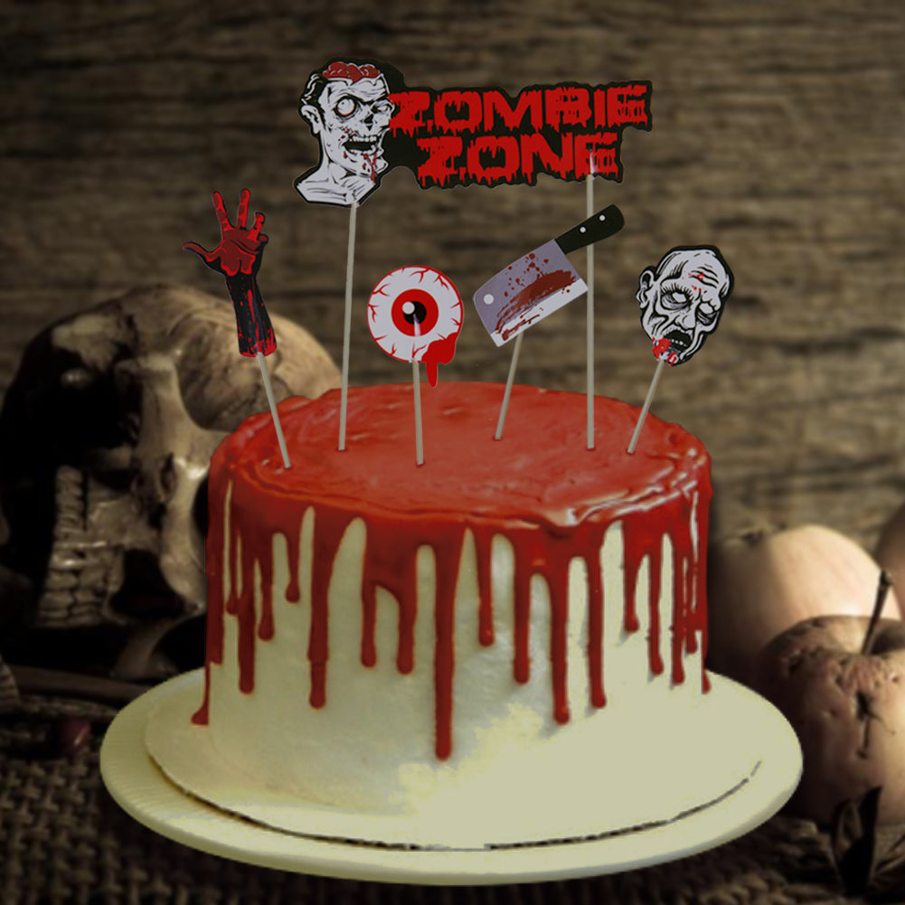Zombie Party Cake Cupcake Toppers paperjazz