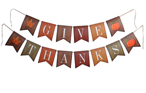 Give Thanks Banner Thanksgiving Party Decoration - paperjazz