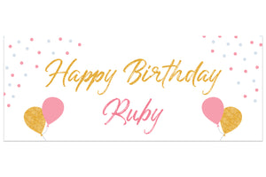 Happy Birthday Personalised Party Banner