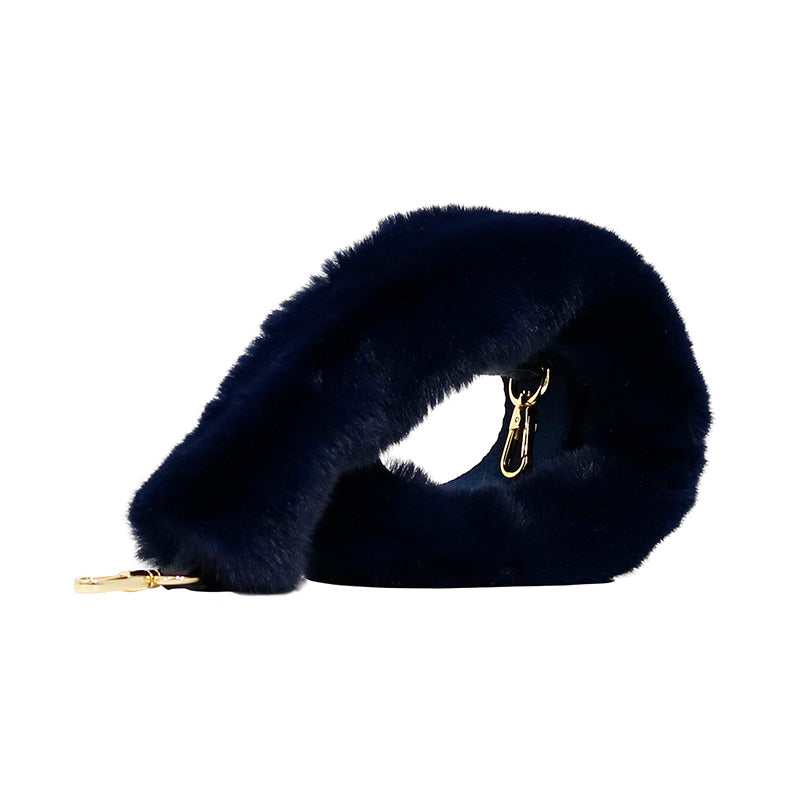 FUR WEBBING STRAP - MIDNIGHT BLUE - milma.studio