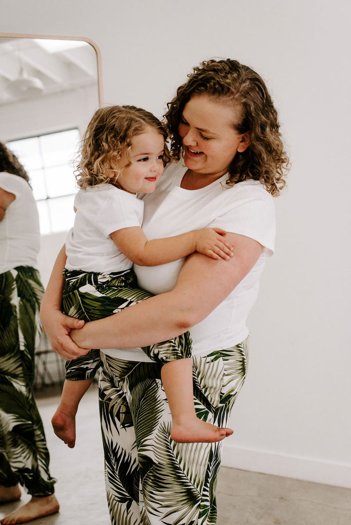 Adult Women's Joggers in Palm Print Plants