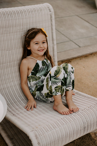 AshleyRose Aloha Collection Lucy Romper Banana Leaf Print