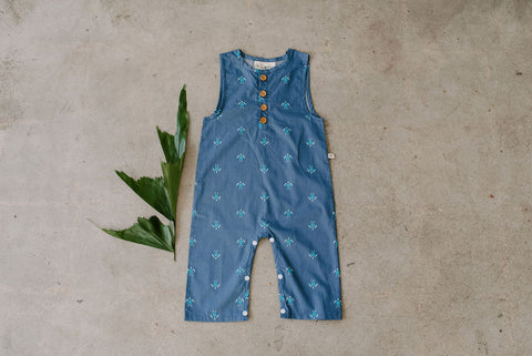 Finley blue turtle pant romper baby boy toddler Ashley Rose Clothing