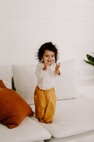 Yellow kids pants joggers Ashley Rose Clothing