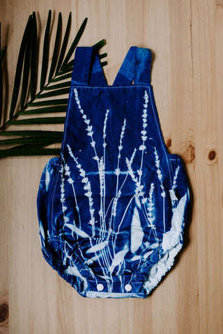 Sun Printed Cyanotype Baby Toddler Rompers Blue