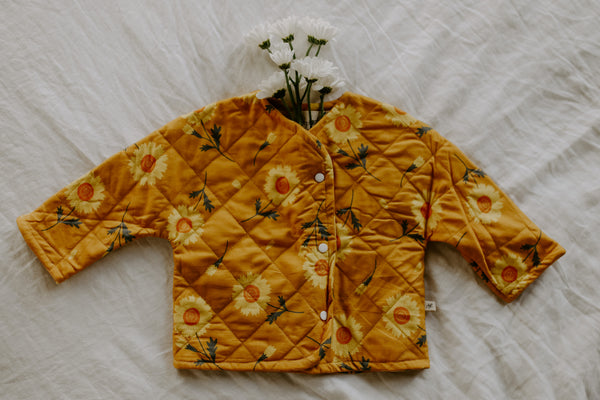 Ashley Rose Clothing Children's Kids Brand Fall Winter 2021 Daisy Flower Quilted Coat Jacket