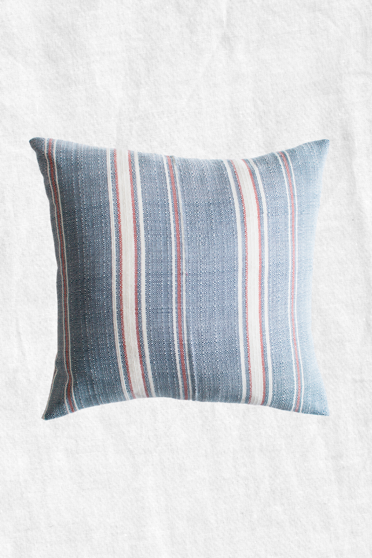 Striped Poncho Duck Feather Throw Pillow + Case