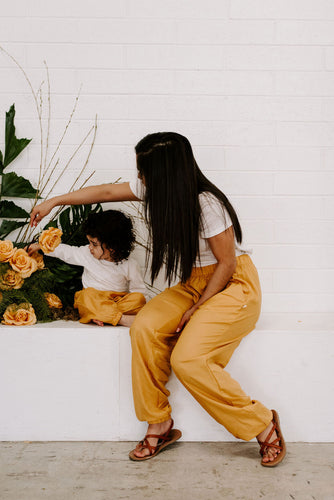 Matching mommy and me yellow joggers pants