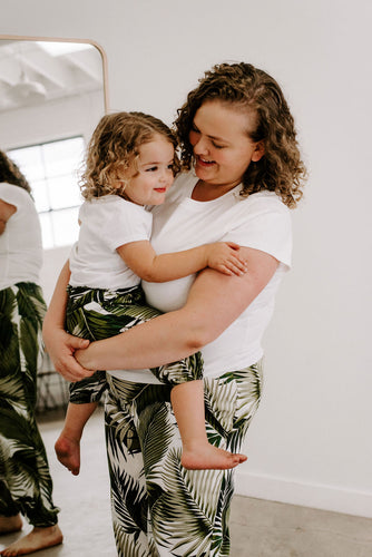 Matching mommy and me joggers pants in palms