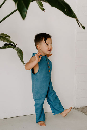 Finley Gender Neutral Romper Jumpsuit in Cobalt Blue
