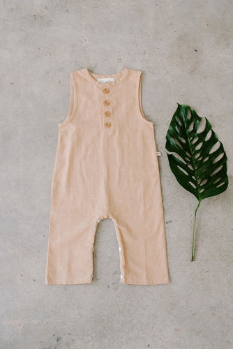 Finley gender neutral toddler baby romper jumpsuit sand beige