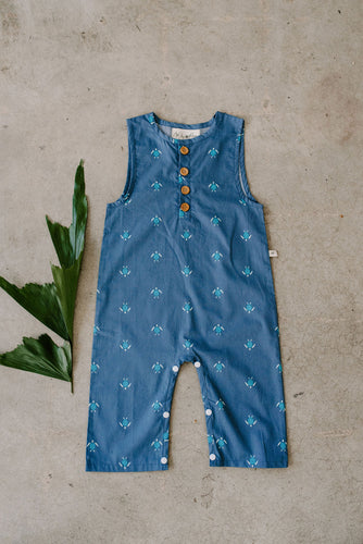 Finley gender neutral toddler baby romper jumpsuit blue sea turtles