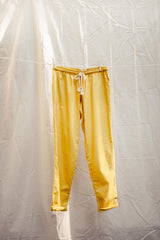 Hemp Adult Drawstring Pants in Saffron Yellow