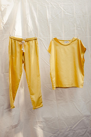 Hemp Adult Boxy Tee in Saffron Yellow