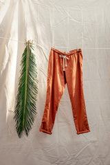 Hemp Adult Drawstring Pants in Burnt Orange